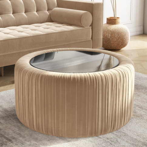 Beige Velvet Ottoman Coffee Table With Mirrored Top - Clio