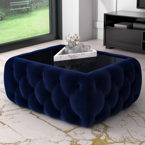 Navy Velvet Storage Coffee Table With Glass Top - Clio