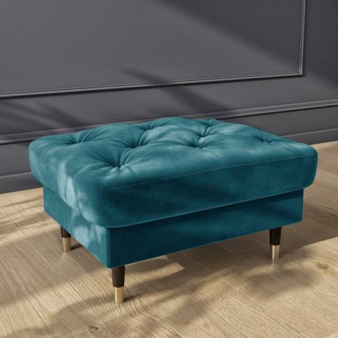 Blue Velvet Buttoned Footstool - Cole