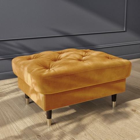 Mustard Yellow Velvet Buttoned Footstool- Cole