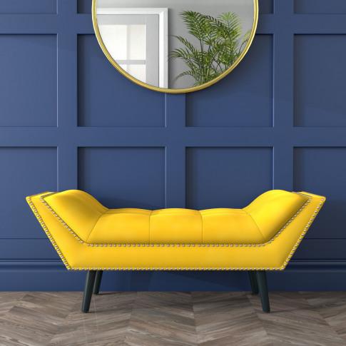 Small Studded Velvet Bench In Yellow - Cheska