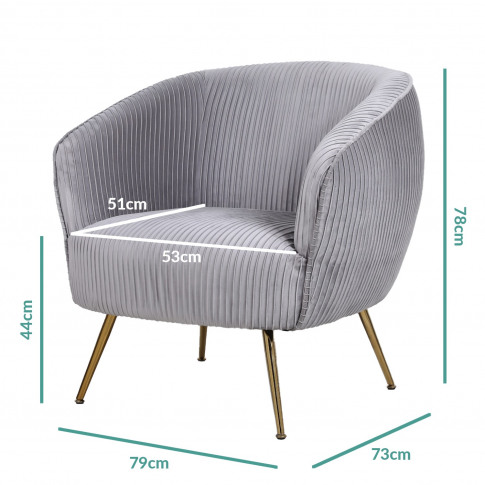 Silver Grey Velvet Armchair With Pleated Detail - Ch...