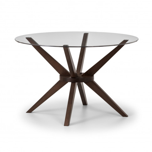Chelsea Round Walnut & Glass Dining Table - Julian Bowen Range