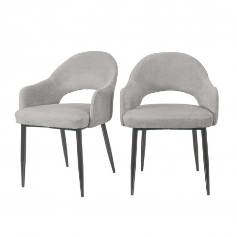 Grey Chenille Dining Chairs With Black Legs - Set Of...