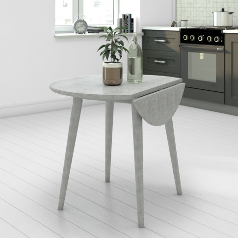 Grey Round Drop Leaf Dining Table - Seats 2 - Cami