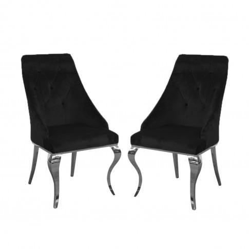 Pair Of Black Velvet Dining Chairs With Chrome Legs ...