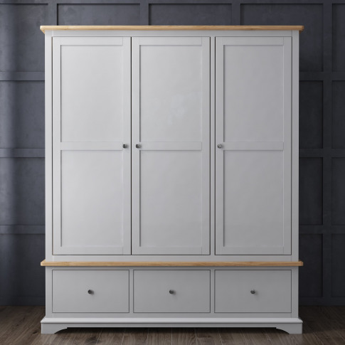 Darley Light Grey Triple Wardrobe In Solid Oak With ...