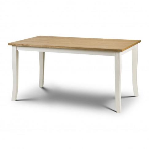Davenport Ivory & Solid Oak Farmhouse Dining Table -...