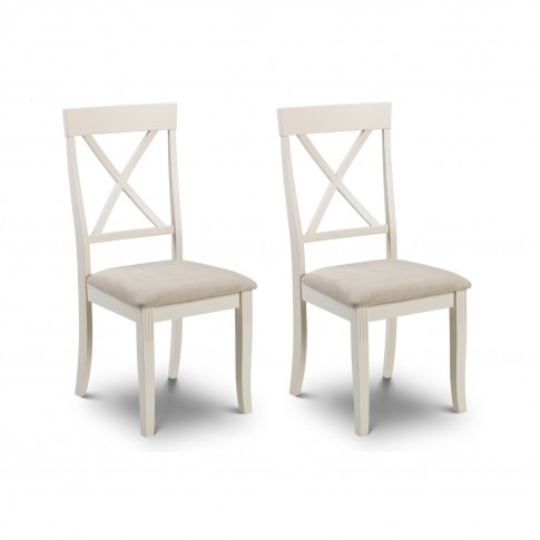 Davenport Ivory Pair Of Wooden Dining Chairs With Fa...