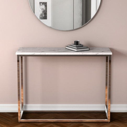 White Marble Effect Console Table With Chrome Legs -...