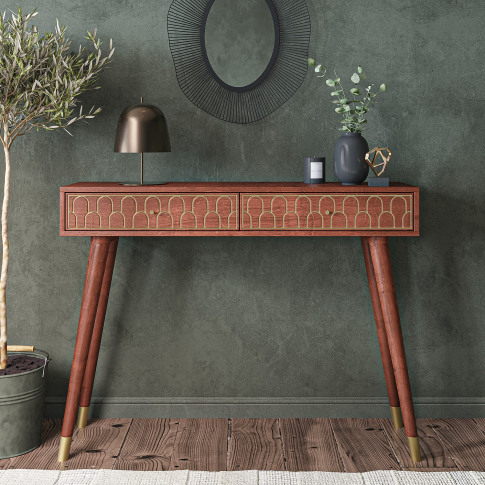Narrow Console Table In Dark Wood With Gold Inlay & Drawers - Dejan
