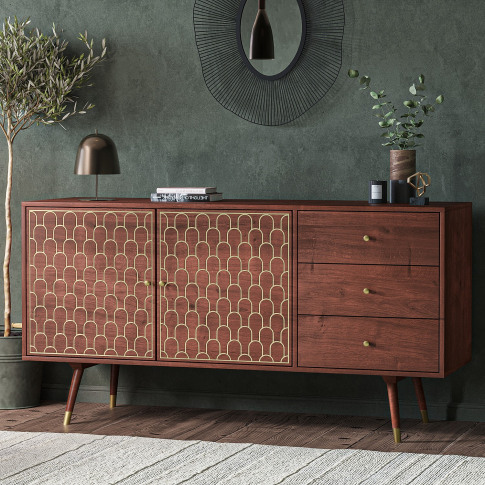 Large Sideboard With Storage In Dark Wood & Gold - D...