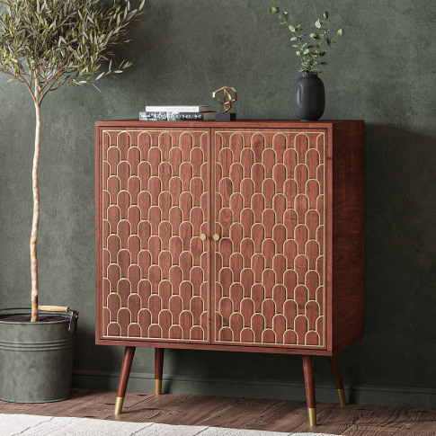 Dark Wood Sideboard With 2 Doors With Gold Inlay - D...