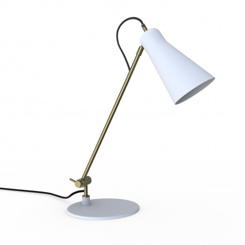 White Desk Lamp With Brass Finish - Grantley