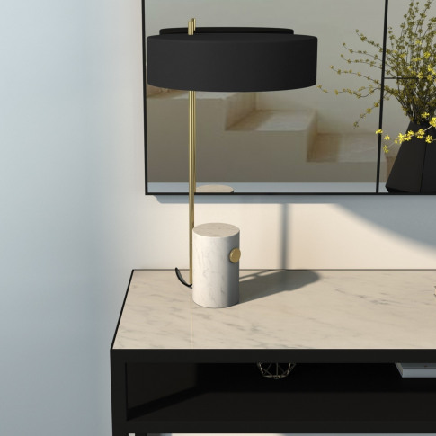 Table Lamp With Marble & Brass Base And Black Shade - Newby