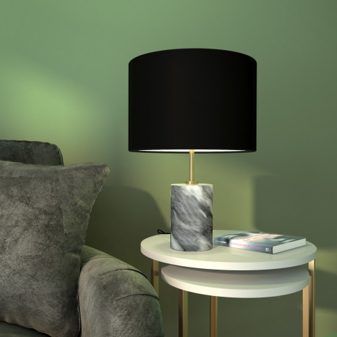 Table Lamp With Grey Marble Base & Black Shade - Shi...