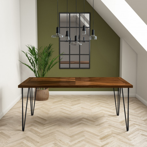 Dark Wood Dining Table With Hairpin Legs - Seats 6 -...
