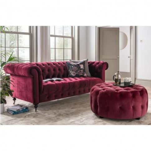 Darby Purple Velvet Sofa - 3 Seater Chesterfield