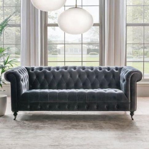 Darby 3 Seater Chesterfield Sofa In Grey Velvet