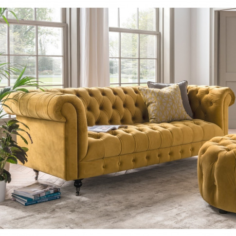 Darby 3 Seater Chesterfield Sofa In Mustard Yellow V...