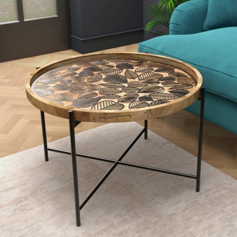 Round Coffee Table - Wood & Black Metal