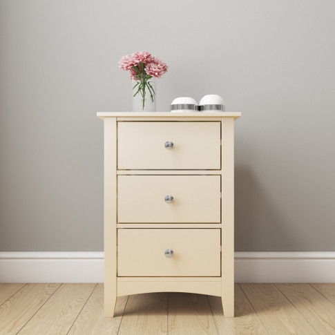 Cream/Ivory 3 Drawer Bedside Cabinet - Emery