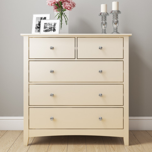 Cream / Ivory 2+3 Chest Of Drawers - Emery