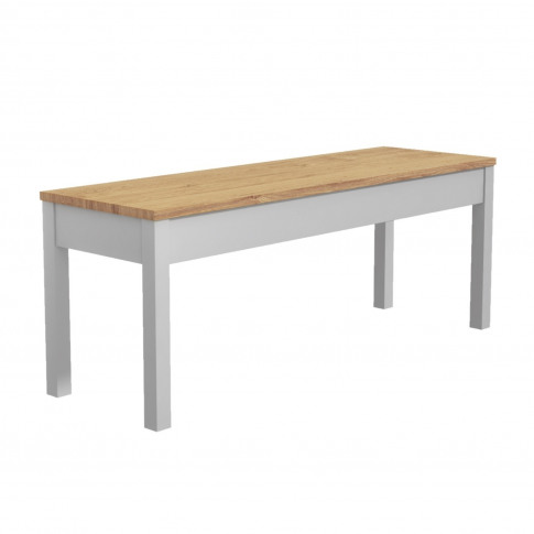 Emerson Wooden Dining Bench In Solid Pine & Grey - S...