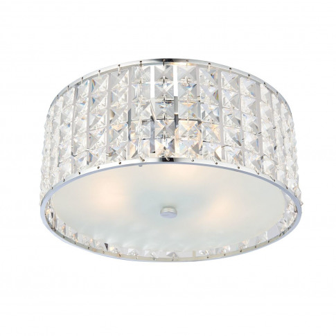 Ceiling Light With Crystals & Flush Fittings - Belfont