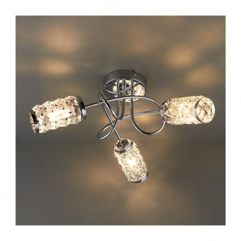 Colby 3 Light Semi Flush Ceiling Light With Crystal ...