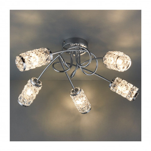 Colby 5 Light Semi Flush Ceiling Light With Crystal ...