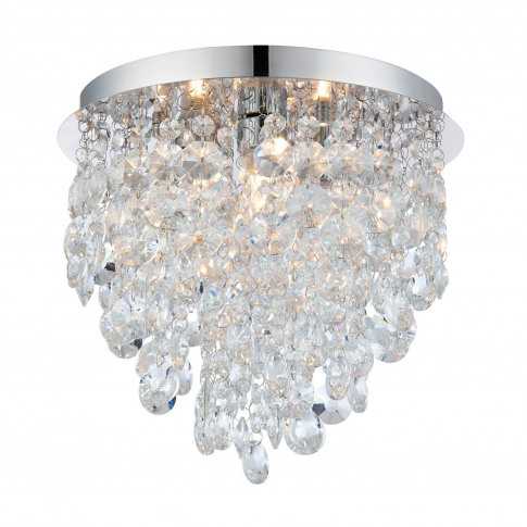 Ceiling Light With Clear Crystals & Flush Fitting - ...
