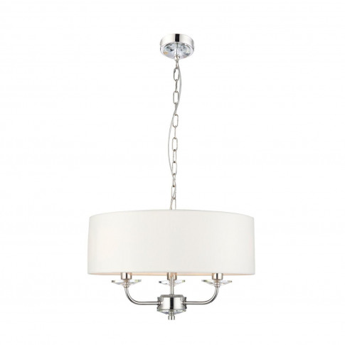 3 Light Ceiling Chandelier Light With White Faux Sil...