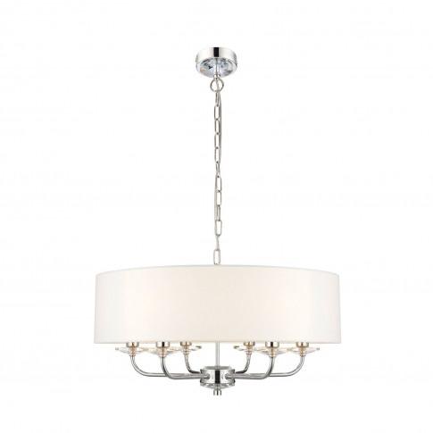 6 Light Chandelier In Chrome & Silver - Nixon