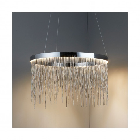 Silver Pendant Light With Chrome Chains - Zelma
