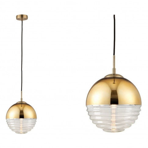 Gold Pendant Light With Ribbed Glass Shade - Paloma