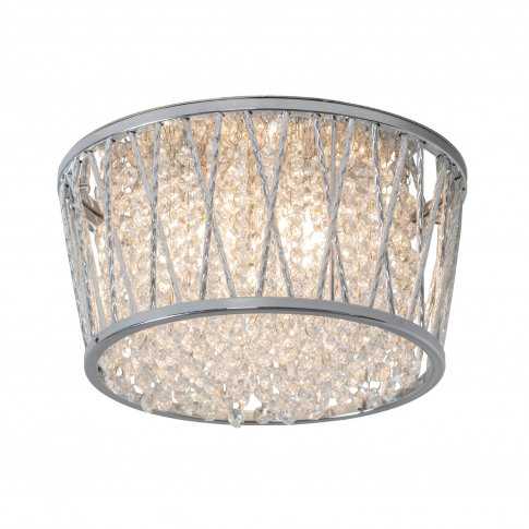 Ceiling Light With Glass Crystals & Flush Fitting - ...