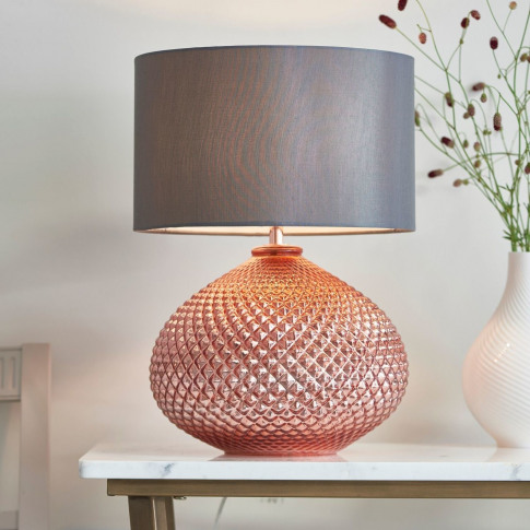 Table Lamp With Rose Gold Base & Grey Faux Silk Shad...