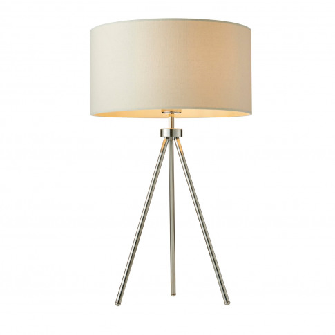 Table Lamp With Chrome Plate Legs & Ivory Linen Shad...