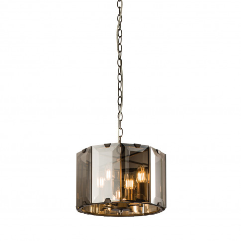 Grey Smoked Glass Chandelier With 8 Lights - Clooney
