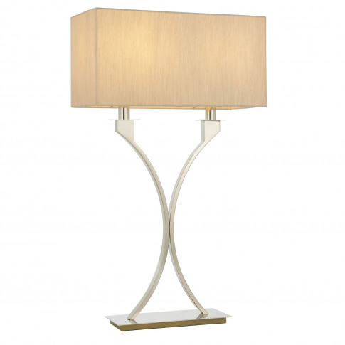 Table Lamp With Nickel Stem & Cream Shade - Vienna