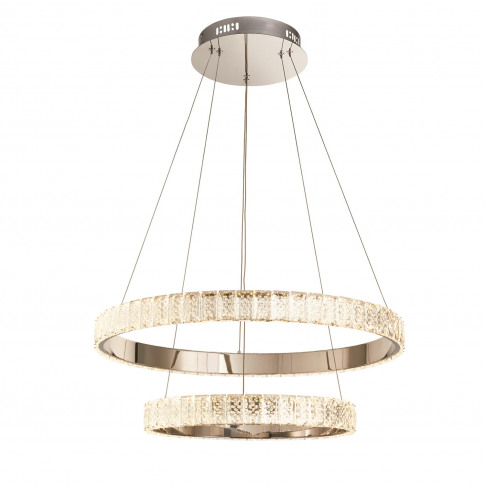 Chrome Pendant Light With Crystals & Rings - Celeste