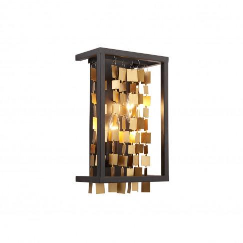 Daya Black And Gold 2 Light Wall Light