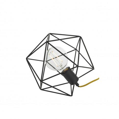 Icosa Matt Black Geometric Table Lamp