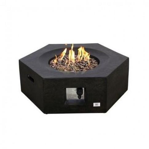 Terrafab Hexagon Gas Garden Table Fire Pit in Black ...