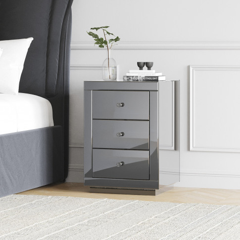Eva Grey Mirrored 3 Drawer Bedside Table With Crysta...