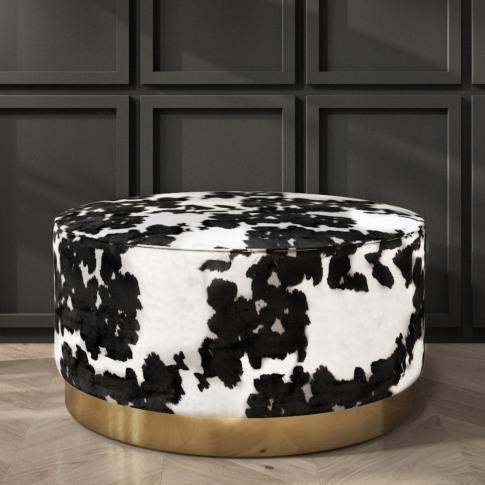 Felicity Large Round Velvet Pouffe In Cow Print