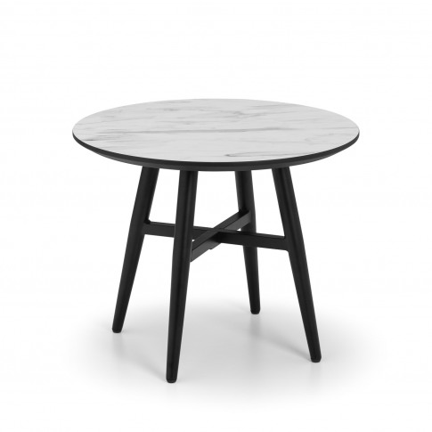 Round Side Table With Faux Marble Top & Black Base - Julian Bowen Firenze