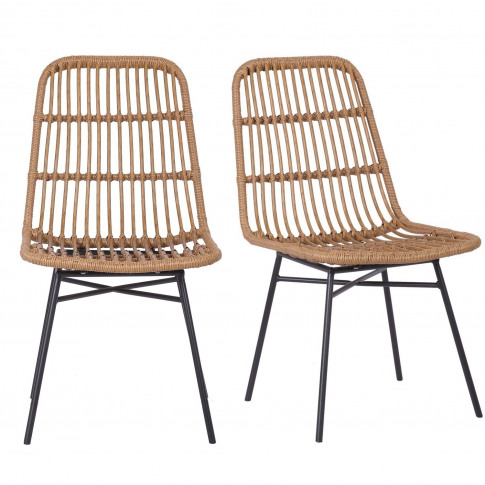 Pair Of Brown Rattan Dining Chairs - Fion