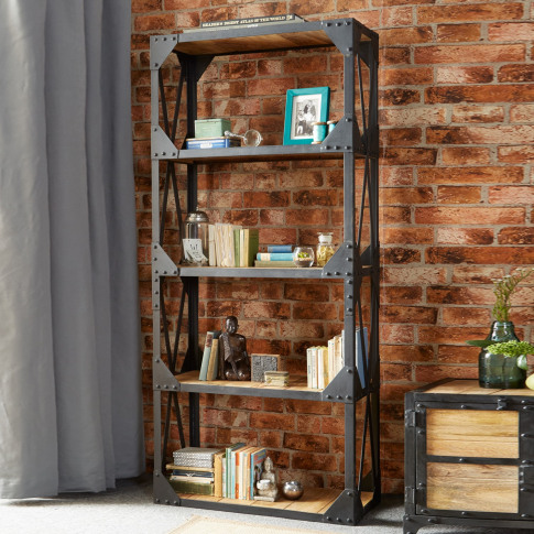 Solid Wood Large Reclaimed Bookcase With Metal Frame...